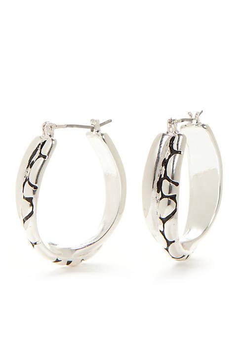 Silver-Tone Bali Sensitive Sensitive Hoop Earrings