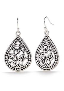 Silver-Tone Teardrop Bali Earrings