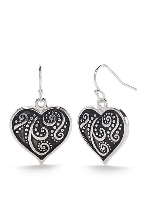 Kim Rogers® Silver Tone Antique Scroll Heart Drop