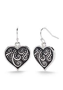Silver-Tone Antique Scroll Heart Drop Earrings