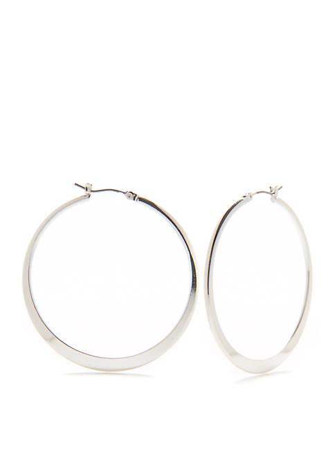 Silver-Tone Large Flat Hoop Earrings
