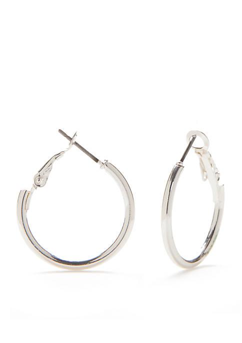 Belk Silver-Tone Sensitive Skin Small Clutchless Hoop Earrings