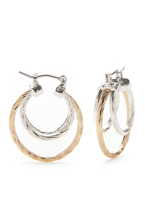 Kim Rogers® Two-Tone Sensitive Skin Hoop Earrings