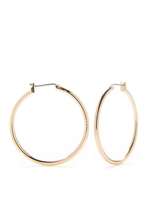 Sensitive Skin Round Click Gold-Tone Hoop Earrings