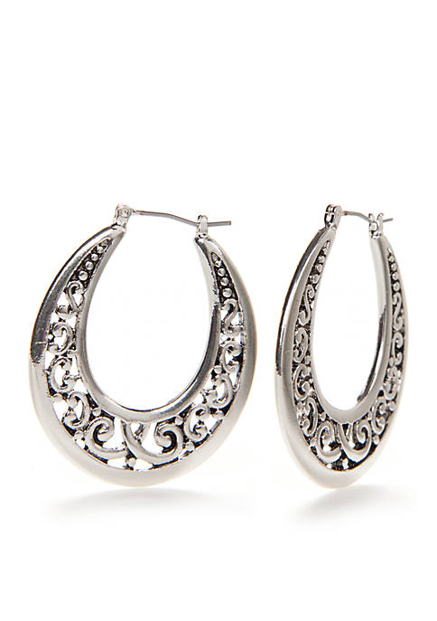 Silver Tone Sensitive Skin Adeline Hoop Earrings