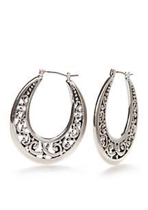 Silver-Tone Sensitive Skin Adeline Hoop Earrings