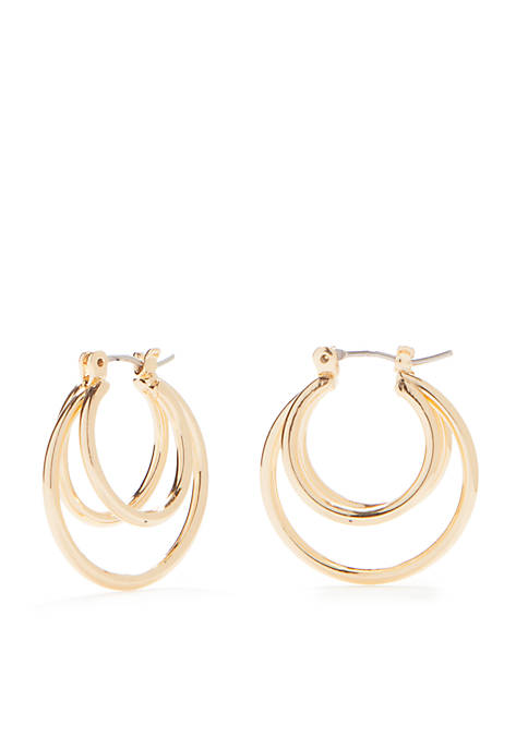 Kim Rogers® Gold Tone Double Click Hoop Earrings
