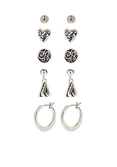 Kim Rogers® Silver-Tone Bali Heart Sensitive Ear Boxed Set