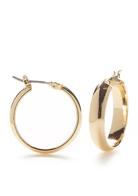 Kim Rogers® Gold Tone Click Round Hoop Earrings