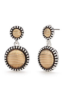 Kim Rogers® Two-Tone Bali Sensitive Skin Double Drop Earrings