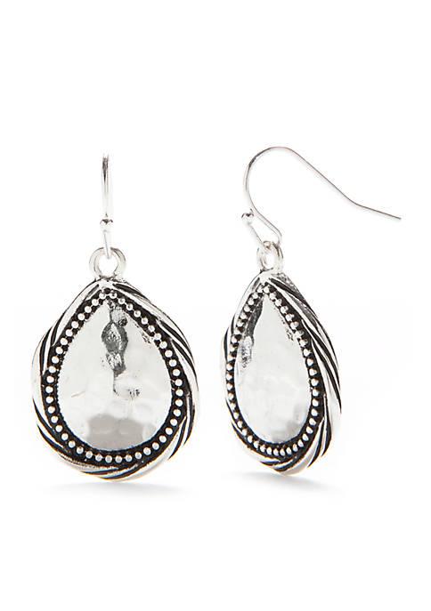 Kim Rogers® Silver-Tone Bali Textured Tear Drop Earrings