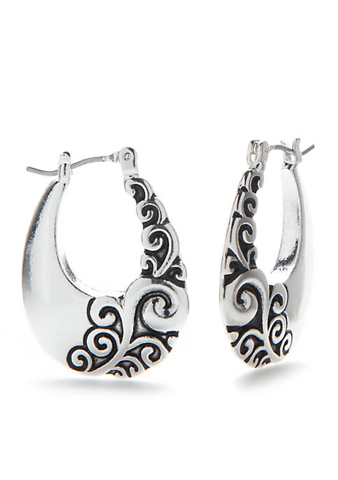 Kim Rogers® Silver-Tone Swirl Carved Click Earrings
