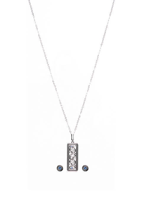 Kim Rogers® 2 Piece Silver Tone Rectangle Necklace