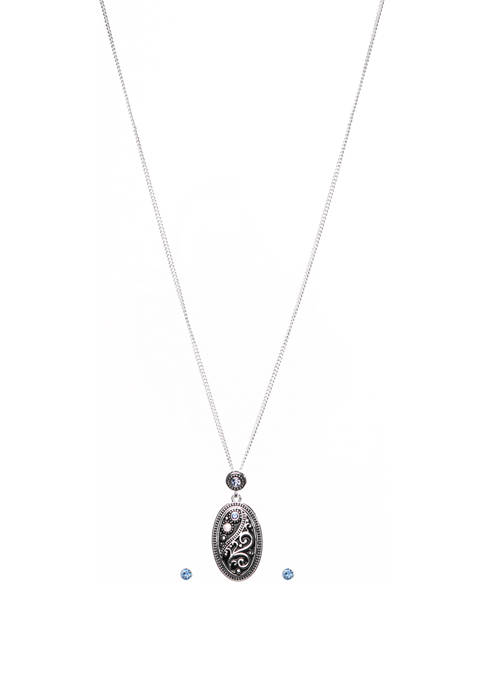 Kim Rogers® 2 Piece Silver Tone Scroll Necklace