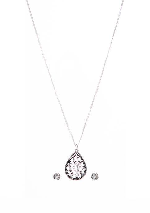 Kim Rogers® 2 Piece Silver Tone Teardrop Necklace