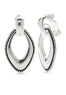 Silver-Tone Rope Edge Oval Hoop Earrings