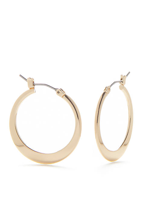 Kim Rogers® Gold-Tone Small Flat Click Hoop Earrings