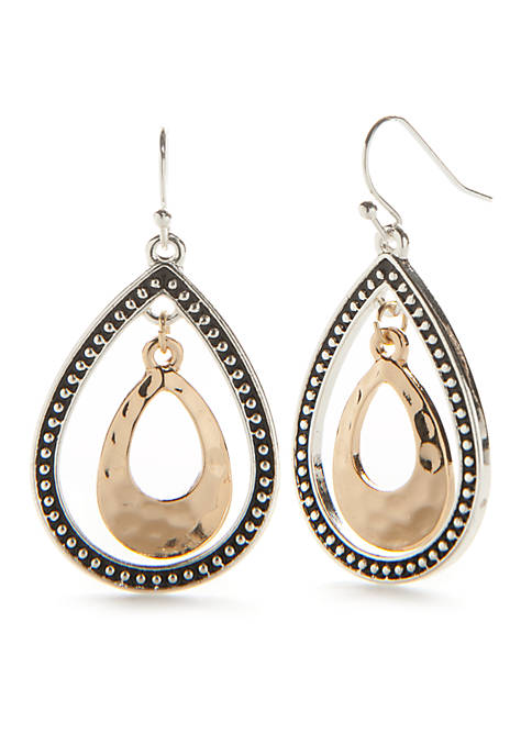 Kim Rogers® Silver-Tone Double Oval Drop Earrings