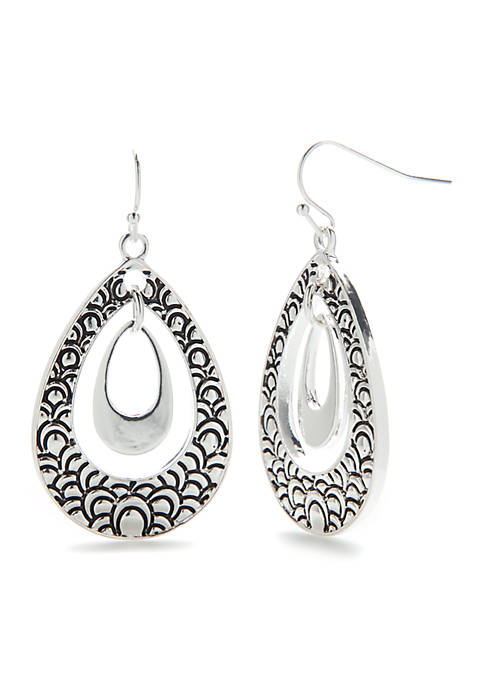 Kim Rogers® Silver-Tone Double Tear Drop Earrings