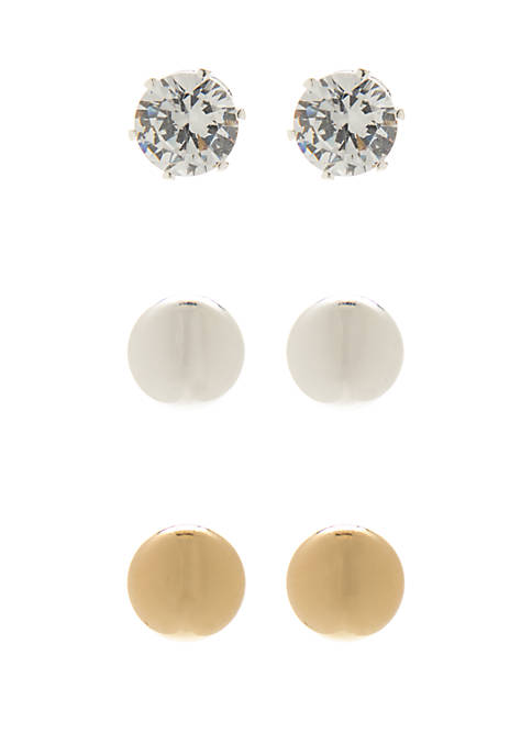 Ball and Stud Earring Trio