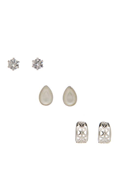 Kim Rogers® Silver Cubic Zirconium Stud & Half