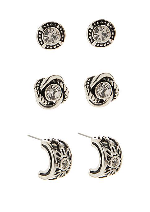 Kim Rogers® Multi Button Crystal Earring Trio