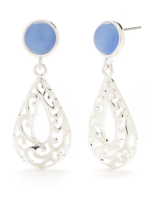 Kim Rogers® Silver-Tone Cat Eye Textured Drop Earrings