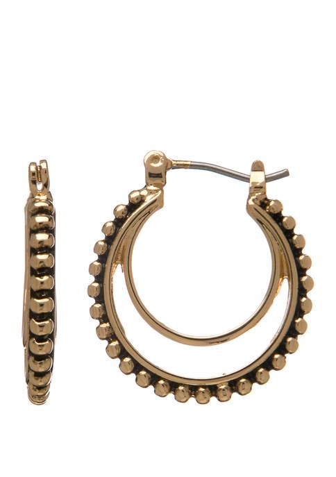 Bali Bead Edge Click Hoop Earrings