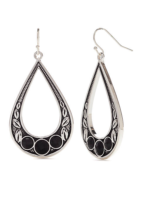 Kim Rogers® Teardrop with Jet Silver Earrings