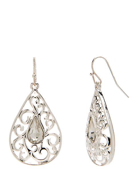 Kim Rogers® Silver Tone Open Scroll Teardrop Earrings