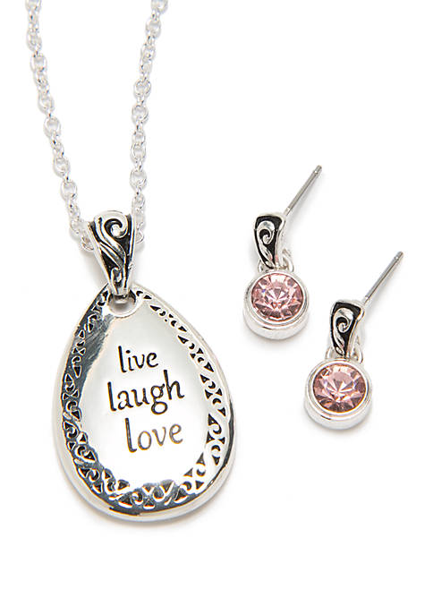 Live Laugh Love Necklace And Earring Set