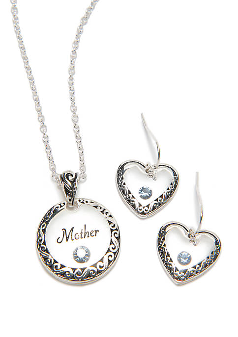 Silver Tone Mother Necklace And Earring Set
