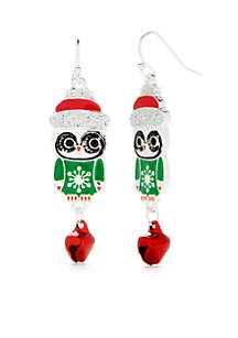 Silver-Tone Holiday Drop Owl Earrings