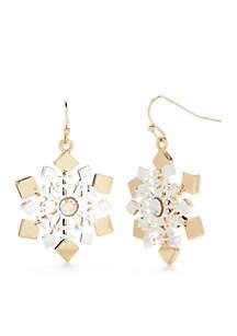Two-Tone Large Snowflake Drop Earrings