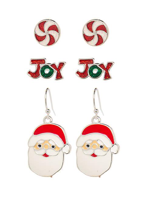 Kim Rogers® Joy Santa Earring Trio