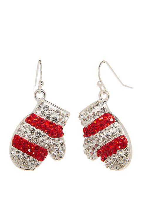 Kim Rogers® Silver Tone Glitter Mitten Drop Earrings