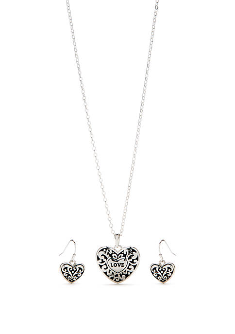 Kim Rogers® Silver Tone Heart Necklace and Earring