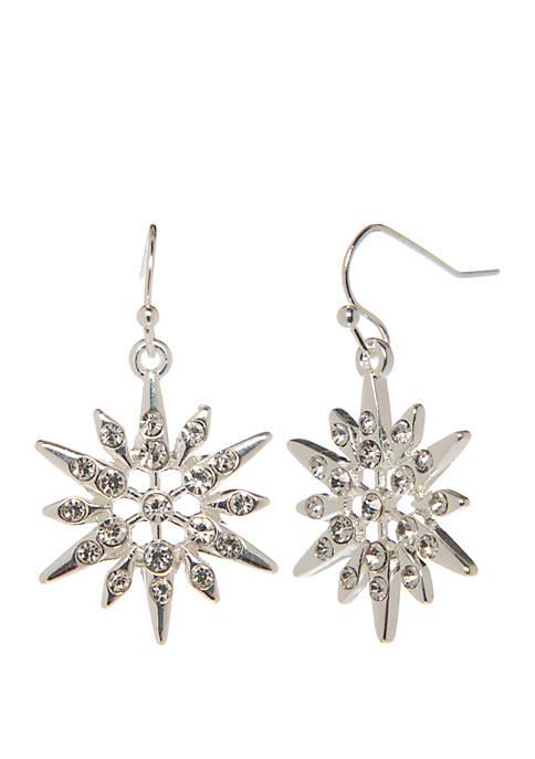 Kim Rogers® Silver Tone Snowflake Drop Earrings