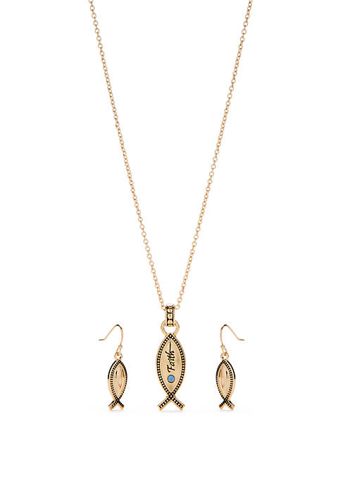 Kim Rogers® Gold Tone Fish Necklace and Earring