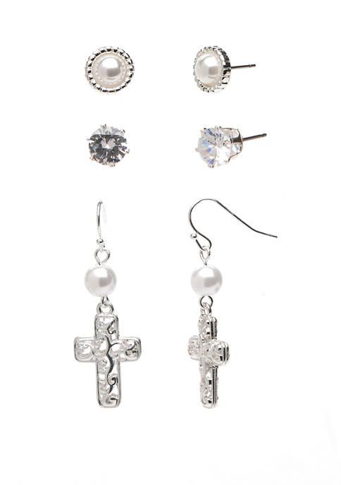 Kim Rogers® Open Cross Trio Silver Earring Set