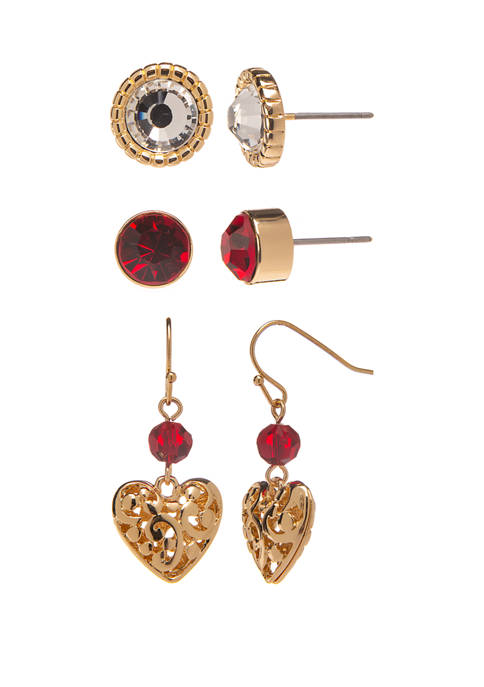 Open Heart and Red Stone Earrings