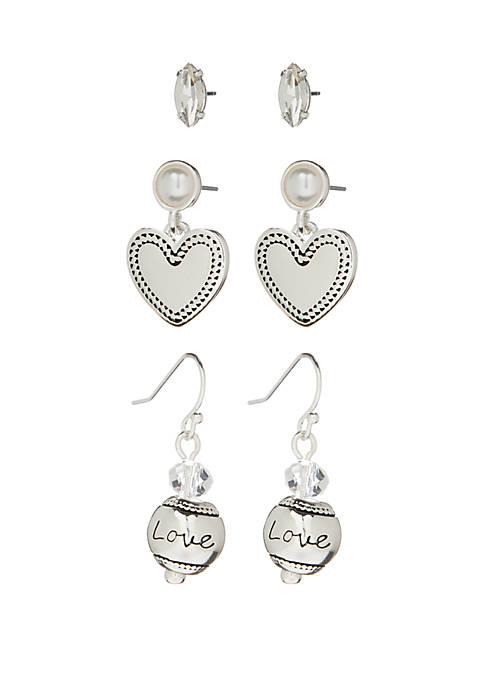 Kim Rogers® Silver Tone Heart Earring Trio