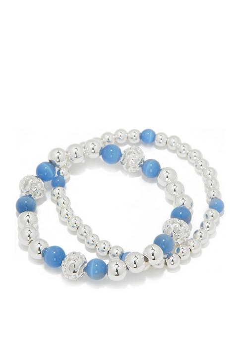 Kim Rogers® Silver Ball Stretch Bracelet Blue Set