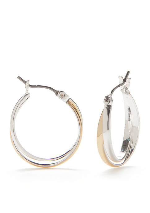Kim Rogers® Two-Tone Sensitive Skin Small Double Hoop
