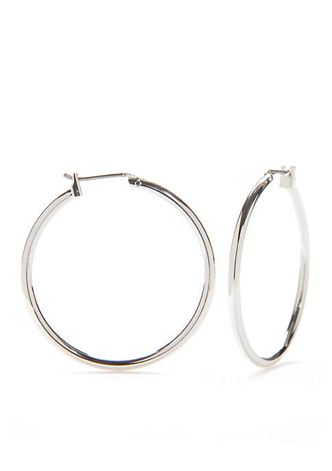Kim Rogers® Silver-Tone Sensitive Skin Round Click Hoop