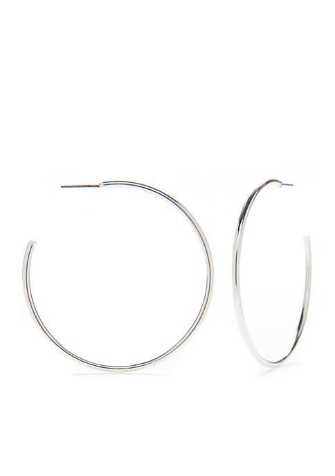Silver-Tone Large Hoop Earrings