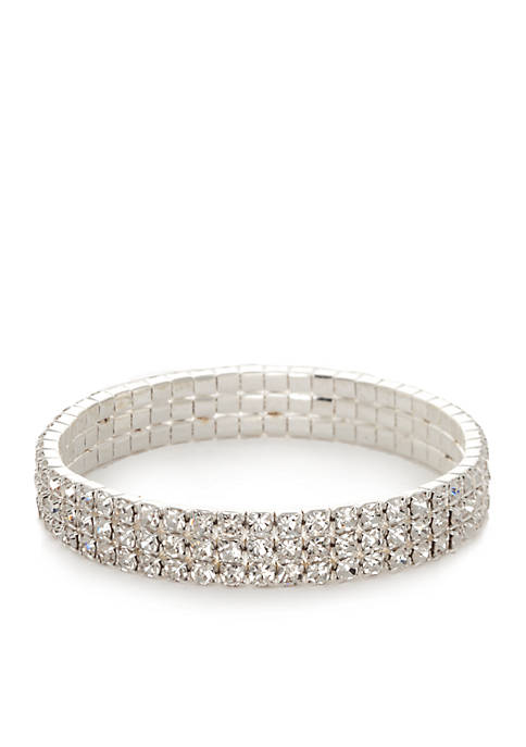 Kim Rogers® Silver Tone Crystal Stretch Bracelet