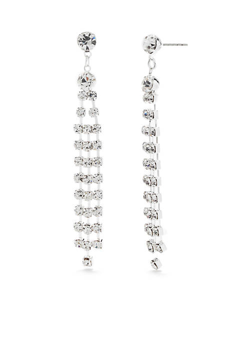 Kim Rogers® Silver-Tone Crystal Linear Drop Earrings