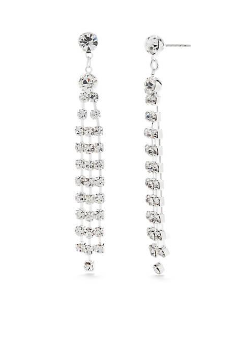 Belk Silver-Tone Crystal Linear Drop Earrings