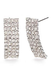 Silver-Tone Domed Crystal Drop Earrings